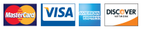 Credit Cards accepted include MasterCard, Visa, American Express and Discover